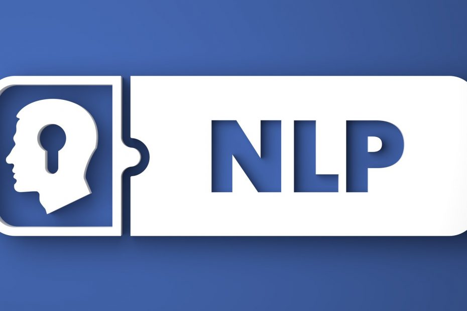 NLP Concept. White Button on Blue Background in Flat Design Style.